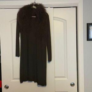 Mongolian fur collar sweater coat chocolate brown